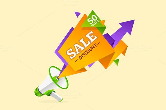 Discount Banner Sticker. Vector - Illustrations