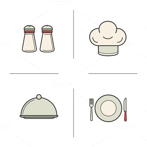 Restaurant kitchen icons. Vector - Icons