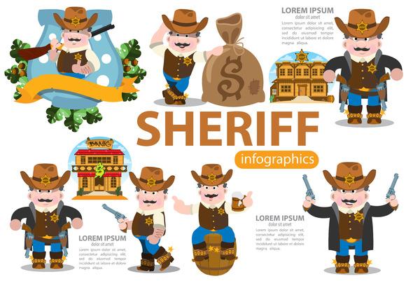 Sheriff. Wild West infographics set. - Illustrations