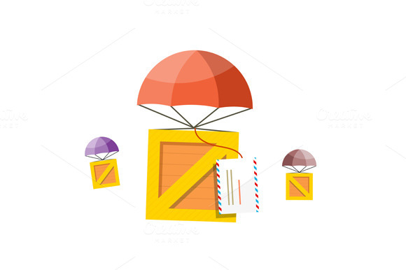 Delivery Box. Air Mail Parachute - Objects