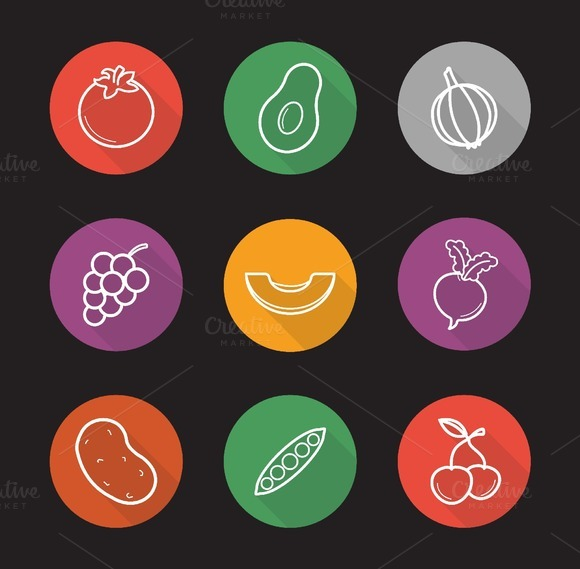 Fruit and vegetables icons. Vector - Icons