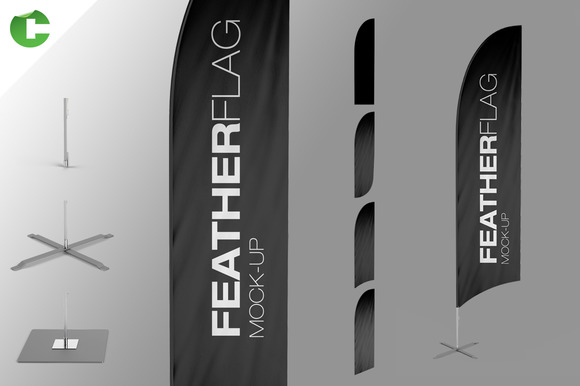 feather flag mock up product mockups on creative market. Black Bedroom Furniture Sets. Home Design Ideas