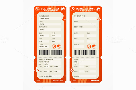 Boarding Pass Ticket Set. Vector - Objects
