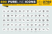 Pure Line Icons-Graphicriver中文最全的素材分享平台