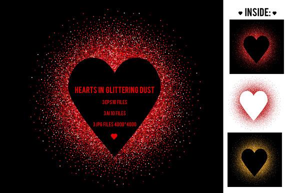 Hearts in glittering dust. Vector - Illustrations