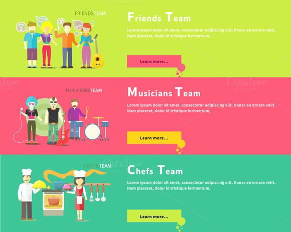 Friends Team. Musicians Group.  - Illustrations