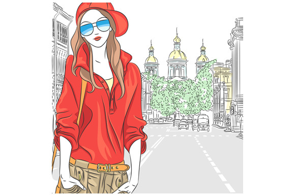 Fashion girl in St. Petersburg. - Illustrations