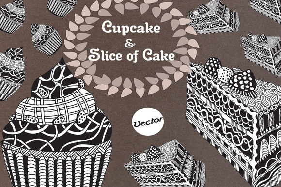 Cupcake Slice Of Cake Drawing