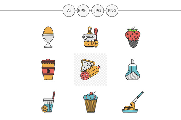 Breakfast menu vector icons. Set 2 - Icons