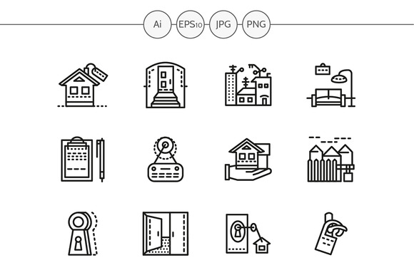 Housing agency line icons. Set 2 - Icons