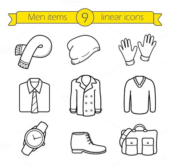 Winter clothes icons. Vector - Icons