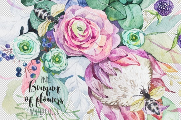Bouquet of flowers. Watercolor. - Illustrations
