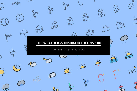 The Weather Insurance Icons 100