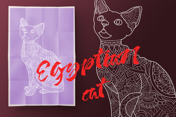 Egyptian cat.Coloring book for adult - Illustrations
