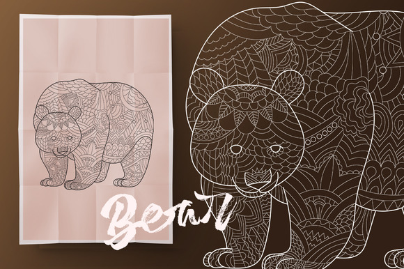 Bear. Coloring book for adult - Illustrations