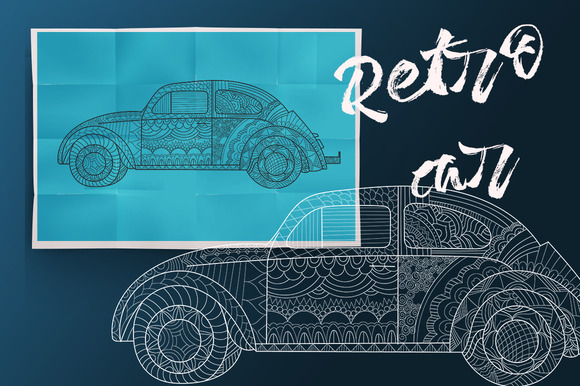 Retro car.Coloring book for adult - Illustrations