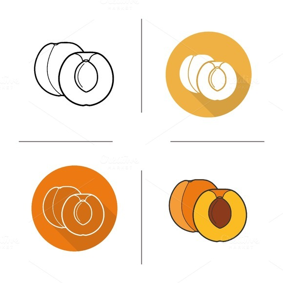 Apricot icons. Vector - Icons