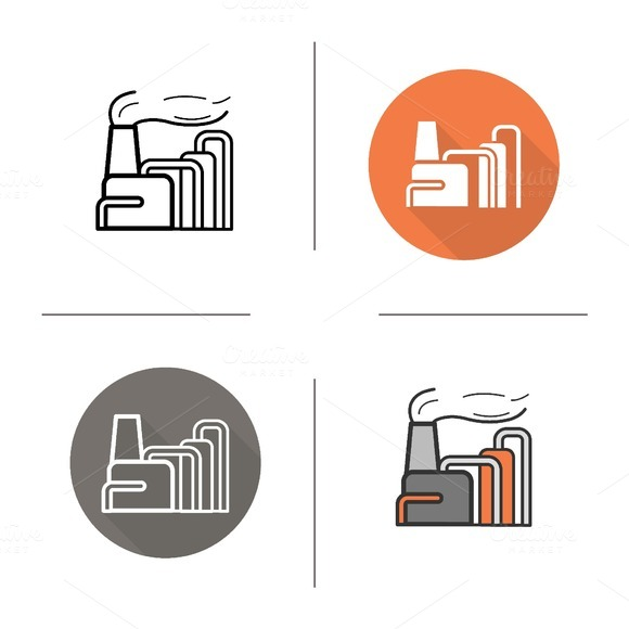 Factory icons. Vector - Icons