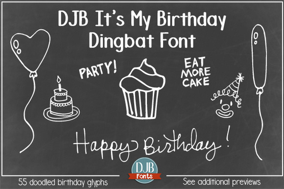 DJB It's My Birthday Dingbat Font