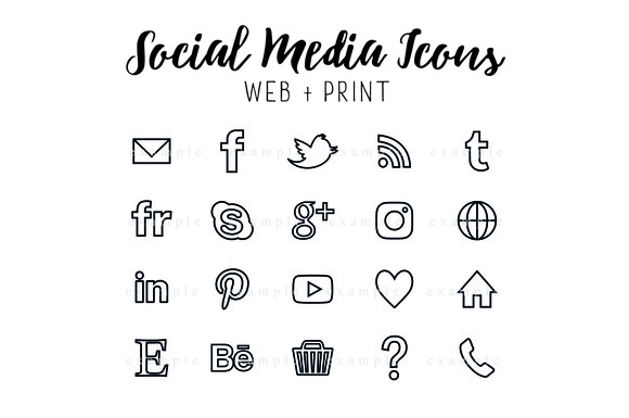 Social Media Icons Black Outline