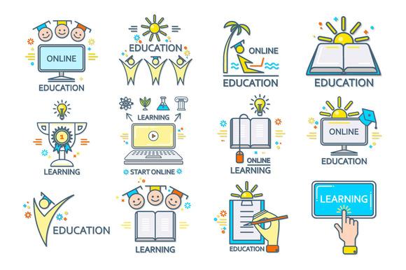 Online-Education Set. Eps,Jpg,Ai,Png - Illustrations