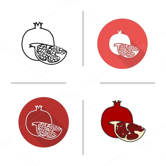 Pomegranate icons. Vector - Icons
