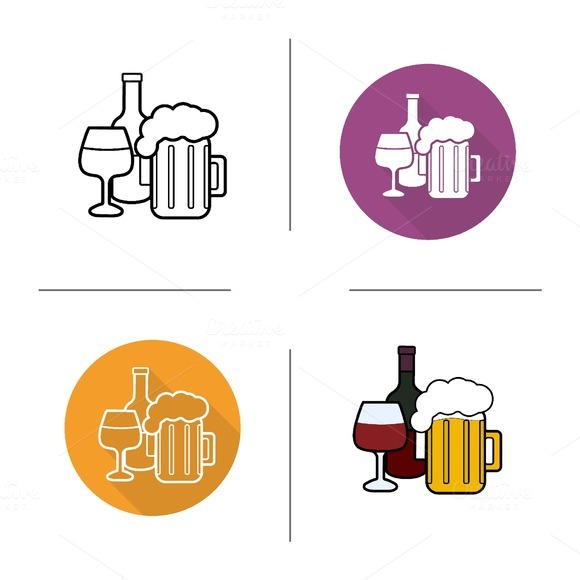 Alcohol drinks icons. Vector - Icons