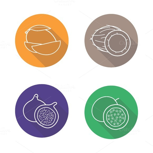 Tropical fruit icons. Vector - Icons