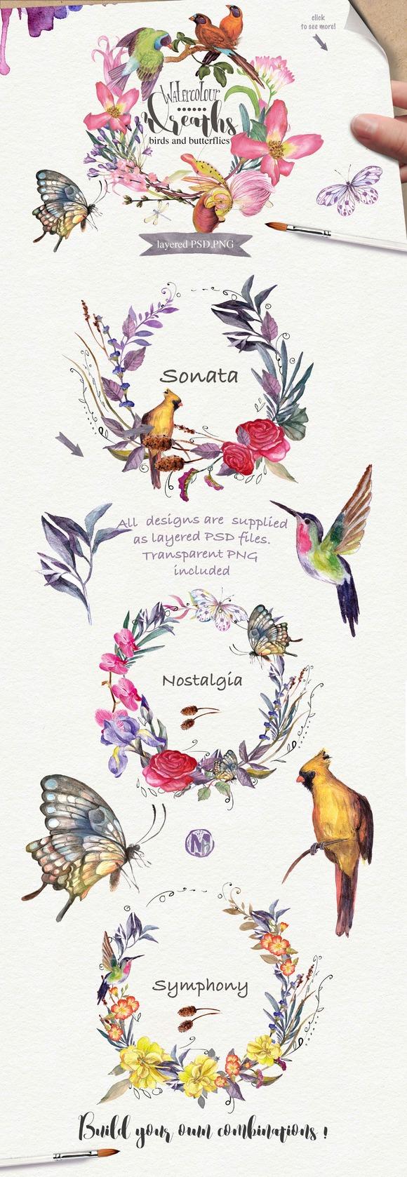 Watercolor floral wreaths vol.2 - Illustrations