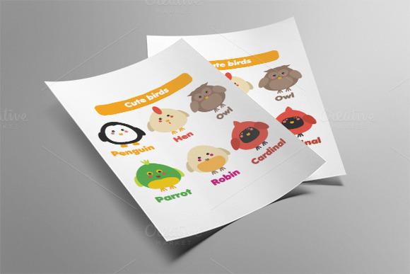 Cute birds icons set. Vector - Illustrations