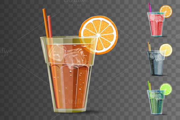 Summer Cocktails. Citrus Cold drink - Objects