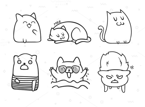 Print cat. Funny cats - Objects