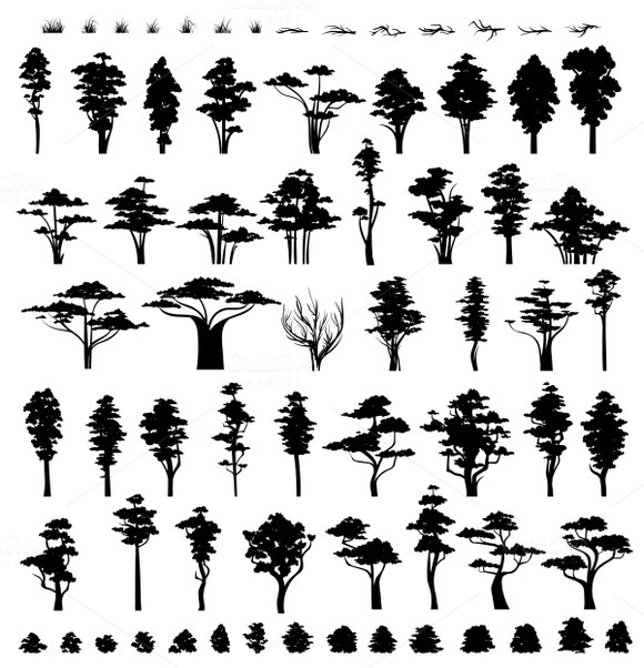 Nature trees. Trees silhouettes  - Objects