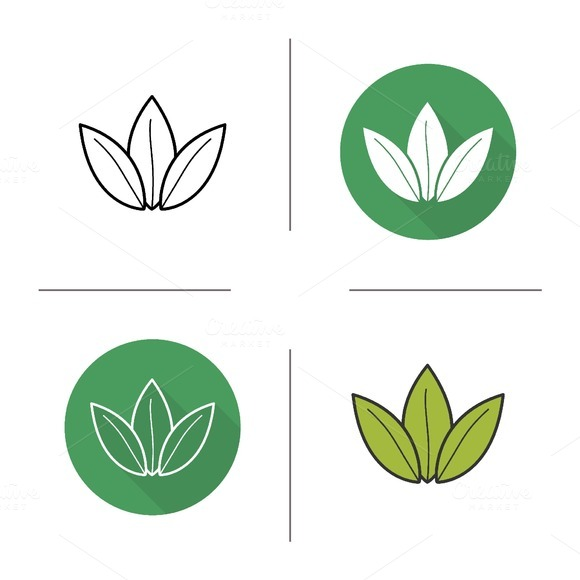 Green tea leaves icons. Vector - Icons