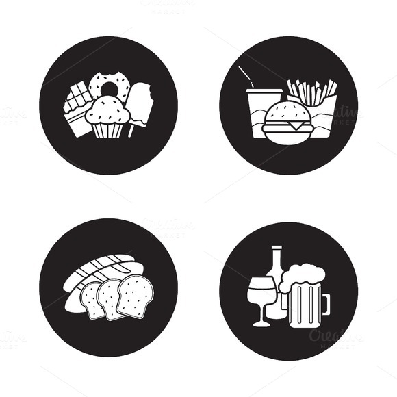 Food and drinks icons. Vector - Icons