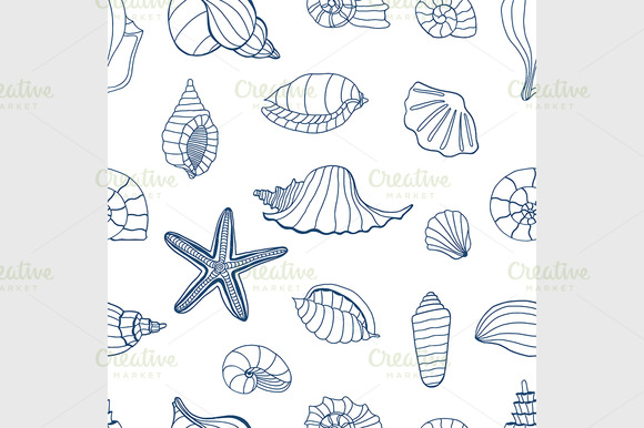 Sea shells. Blue and white - Graphics