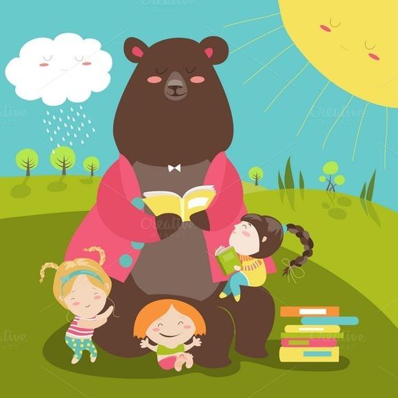 Cute Bear Reading Book For Girls