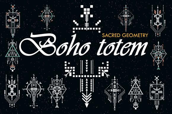Boho totem. Sacred geometry - Illustrations