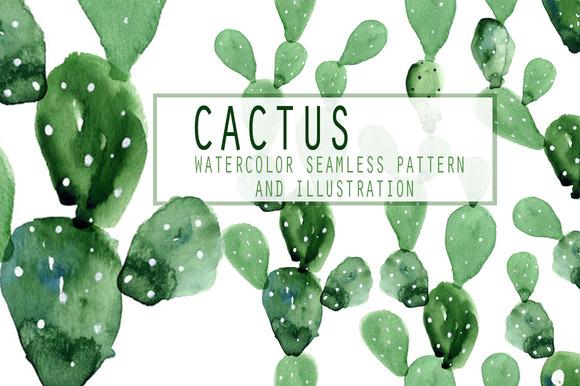 5 Watercolor Cactus Patterns