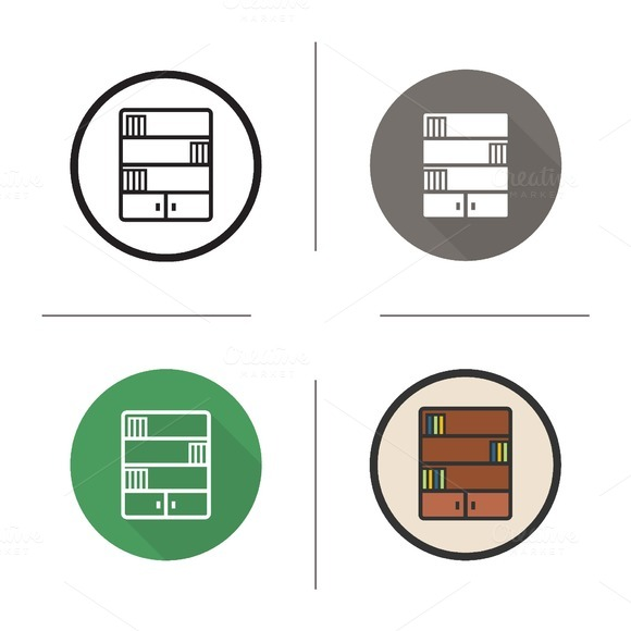 Bookcase icons. Vector - Icons