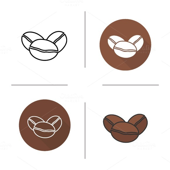 Coffee beans icons. Vector - Icons