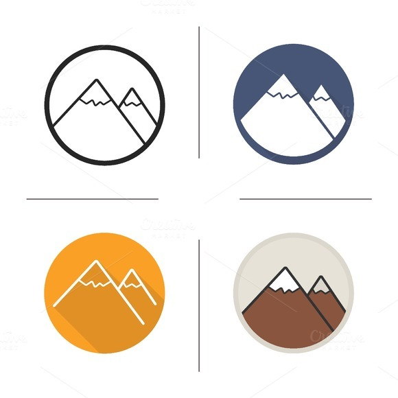 Mountain icons. Vector - Icons