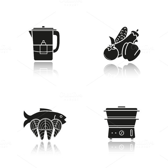 Steam cooking icons. Vector - Icons