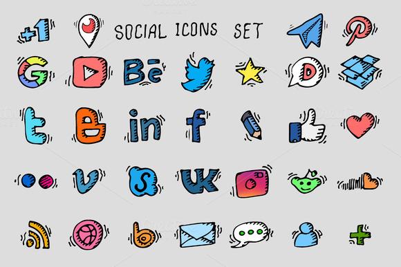 Social icon set. Vector - Icons