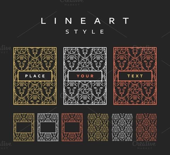 Set of design elements. Line art - Objects