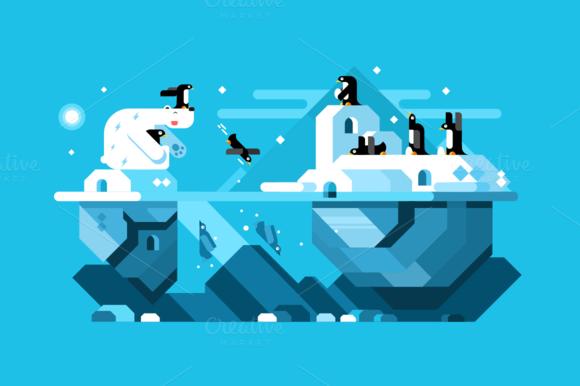 Arctic Polar Bear With Penguins