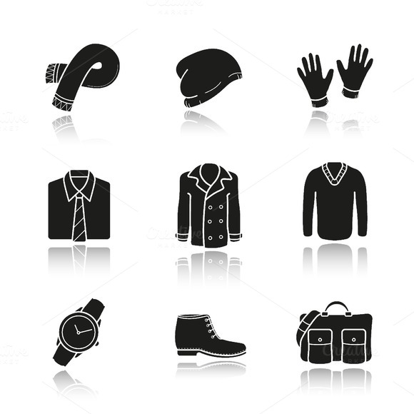 Men's clothes icons. Vector - Icons