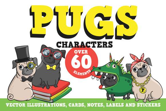 Pugs. Characters. - Illustrations