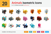 20 Animals Isometric Icons-Graphicriver中文最全的素材分享平台