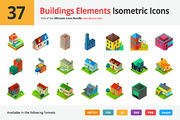 37 Buildings Elements Isome-Graphicriver中文最全的素材分享平台